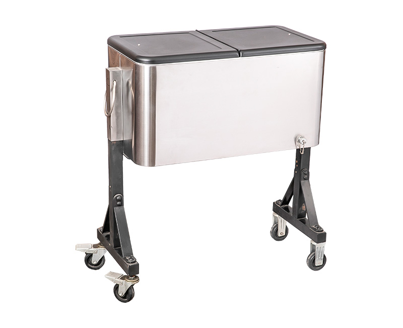 The cooler cart is equipped with push handles and rollers, which is very convenient